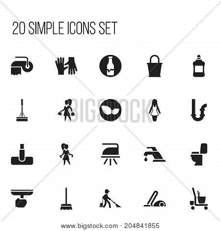 Set Of 20 Editable Hygiene Icons. Includes Symbols Such As Flatiron, Chores, Housekeeping Cart And More