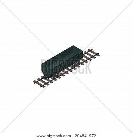 Carbon Railway Container Vector Element Can Be Used For Coal, Railway, Wagon Design Concept.  Isolated Coal Shipping Isometric.