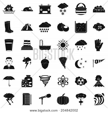 Weather icons set. Simple style of 36 weather vector icons for web isolated on white background