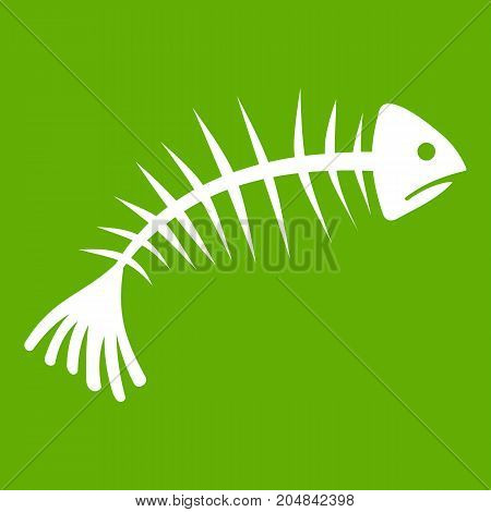 Fish bones icon white isolated on green background. Vector illustration