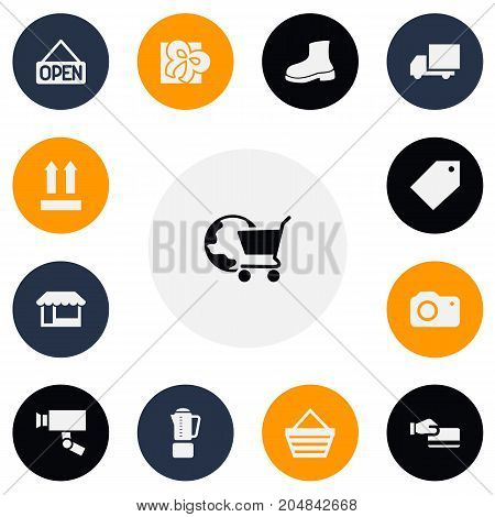 Set Of 13 Editable Business Icons. Includes Symbols Such As Disbursement, Ribbon, Blend And More