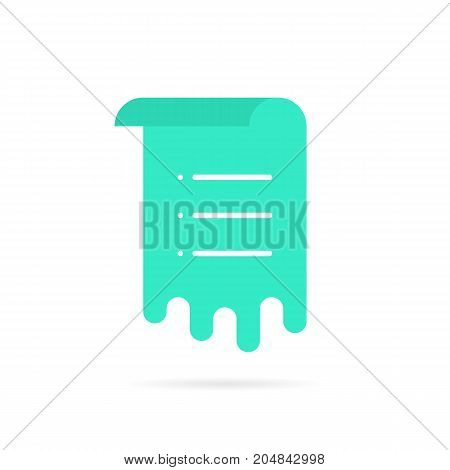 green sheet with memo list. concept of work flow, vote, mail ui, rolled menu, doc template, notice, schedule, post. flat style trend modern logo graphic design vector illustration on white background