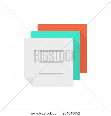 stack of color memo to-do list. concept of work flow, vote, mail ui, menu, doc template, notice, schedule, post. flat style trend modern logo graphic design vector illustration on white background