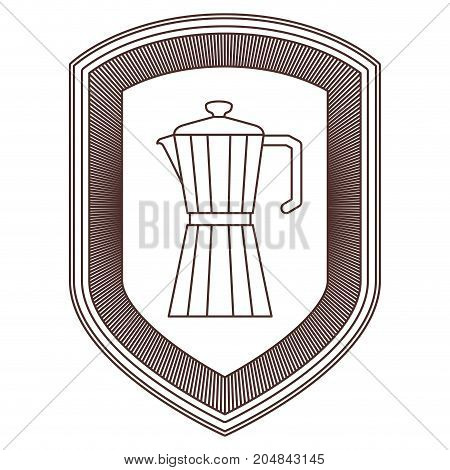 logo shield decorative of metallic jar of coffee with handle striped brown silhouette on white background vector illustration