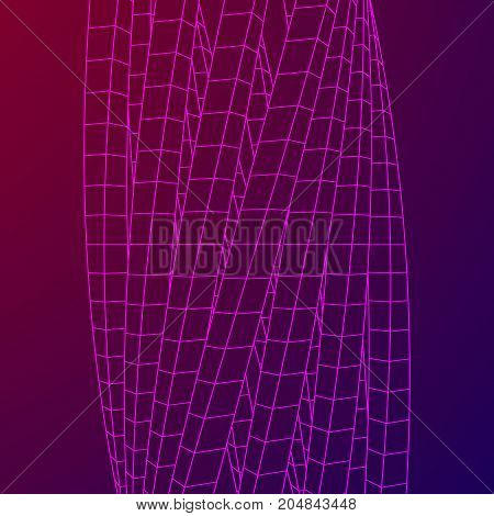 Low poly truss structure wireframe mesh background. Scinece and tech vector illustration.