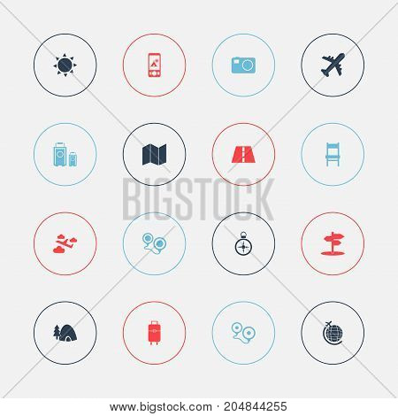 Set Of 16 Editable Holiday Icons. Includes Symbols Such As Path, Aviation, Crossroad And More