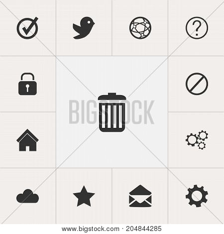 Set Of 13 Editable Web Icons. Includes Symbols Such As Approved, Dove, Sky And More