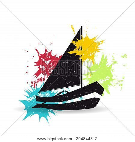 Sailboat on background with color spots. Grunge vector illustration