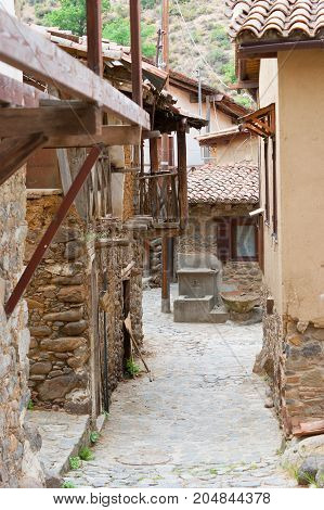 Empty street of the Kakopetria village. Cyprus