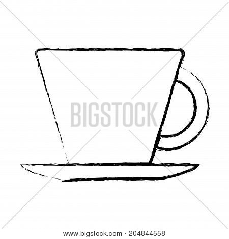 porcelain cup on dish monochrome blurred silhouette vector illustration