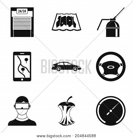 Rugged terrain icons set. Simple set of 9 rugged terrain vector icons for web isolated on white background