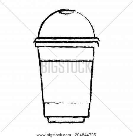 glass disposable for hot drinks monochrome blurred silhouette vector illustration