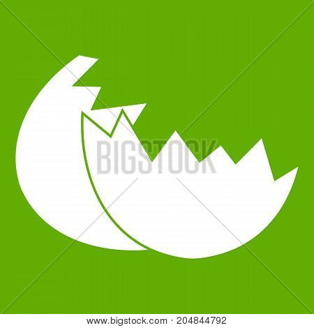 Egg shell icon white isolated on green background. Vector illustration