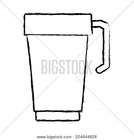 glass disposable for hot drinks with handle monochrome blurred silhouette vector illustration