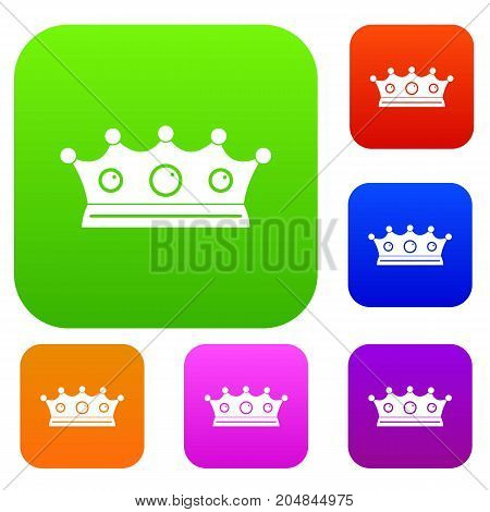 Jewelry crown set icon color in flat style isolated on white. Collection sings vector illustration