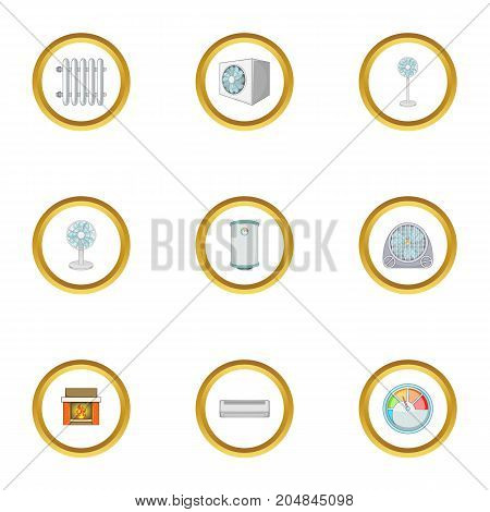 Heating icons set. Cartoon style set of 9 heating vector icons for web design