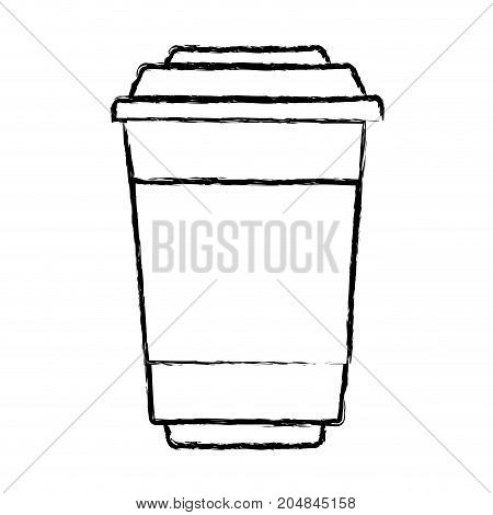 glass disposable for hot drinks with lid monochrome blurred silhouette vector illustration