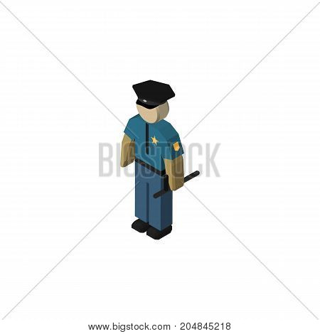 Officer Vector Element Can Be Used For Police, Policeman, Officer Design Concept.  Isolated Policeman Isometric.