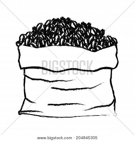 bag with coffee beans monochrome blurred silhouette vector illustration