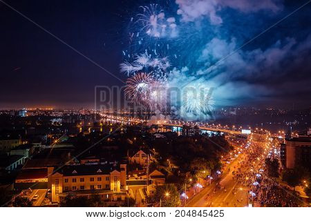 Firework over Voronezh river during celebration of festival the Day of the City, aerial view