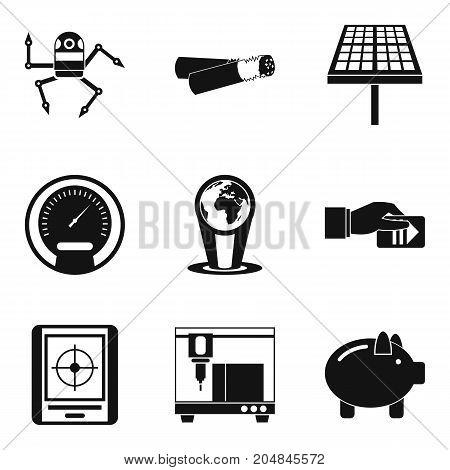 Automotive electronic icons set. Simple set of 9 automotive electronic vector icons for web isolated on white background
