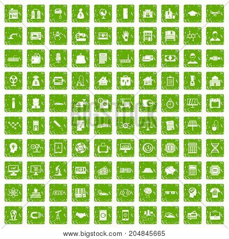 100 loans icons set in grunge style green color isolated on white background vector illustration