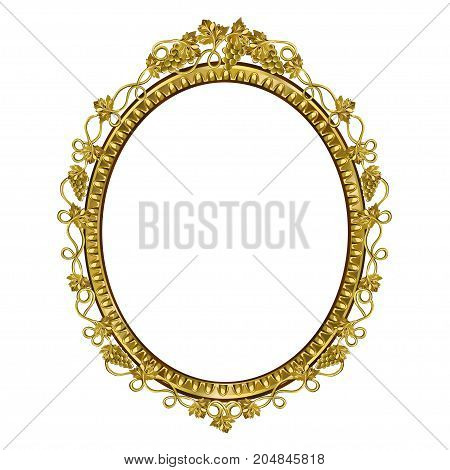 Decorative frame of an oval form of golden color with art finishing the vector image on a white background