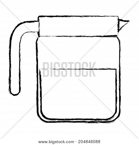 glass jar of coffee with handle monochrome blurred silhouette vector illustration