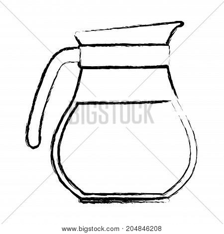rounded glass jar of coffee with handle monochrome blurred silhouette vector illustration