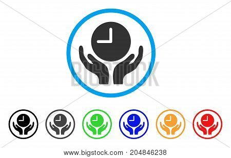 Clock Care rounded icon. Style is a flat clock care gray symbol inside light blue circle with black, gray, green, blue, red, orange color versions. Vector designed for web and software interfaces.