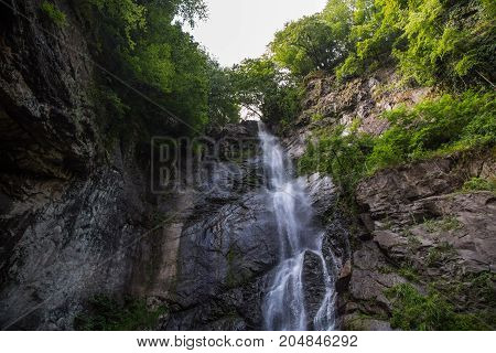 Waterfall tall mountain landscape with plants in Georgia