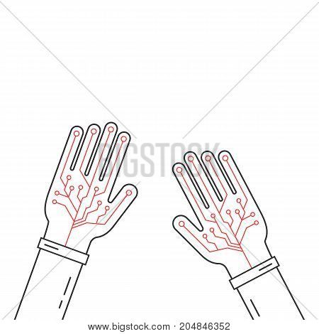 linear virtual gloves on hands. concept of fiction ar, vr layout, data ui, smart palm, geek arm equipment, input device. flat style trend modern graphic design vector illustration on white background