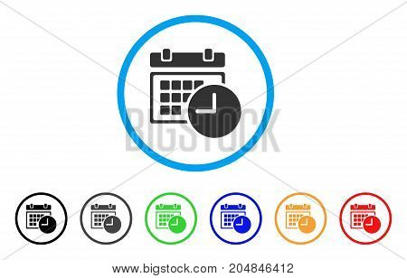 Date And Time rounded icon. Style is a flat date and time grey symbol inside light blue circle with black, gray, green, blue, red, orange variants. Vector designed for web and software interfaces.