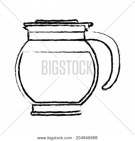 rounded glass jar recipient of coffee with handle monochrome blurred silhouette vector illustration