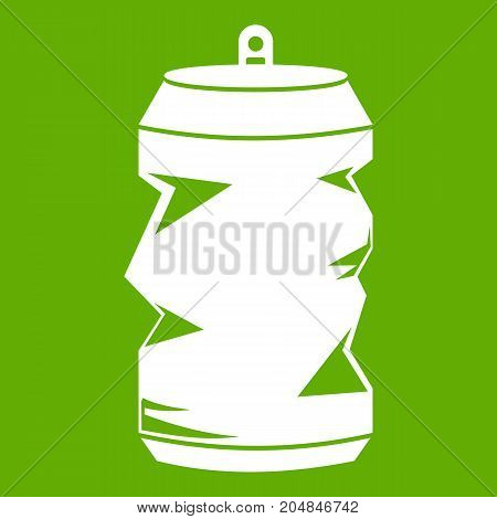 Crumpled aluminum cans icon white isolated on green background. Vector illustration
