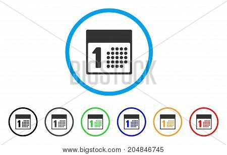 First Day rounded icon. Style is a flat first day gray symbol inside light blue circle with black, gray, green, blue, red, orange color versions. Vector designed for web and software interfaces.