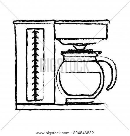 coffee maker with glass jar silhouette monochrome blurred silhouette vector illustration