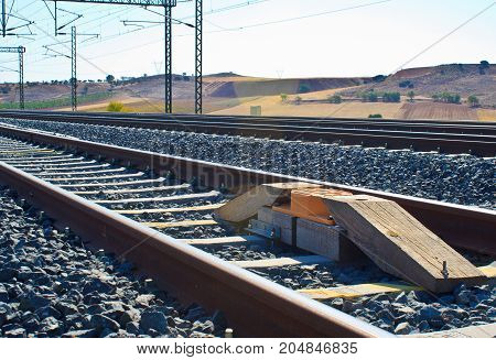 Asfa balise in way Train rail way in middle of spain