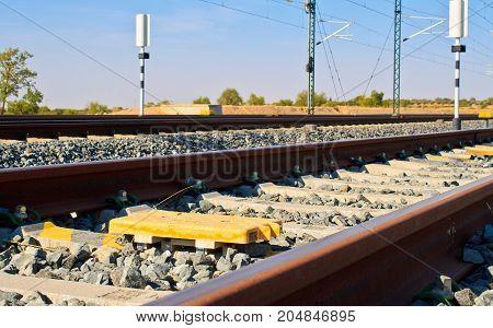 european railway balises Train rail way in middle of spain