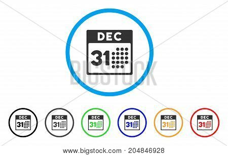 Last Year Day rounded icon. Style is a flat last year day grey symbol inside light blue circle with black, gray, green, blue, red, orange color versions.