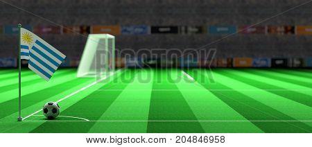 Uruguay Flag On A Soccer Field. 3D Illustration
