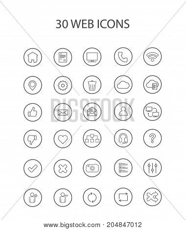 30 Grey Web Icons with Hollow Round Vector Illustration