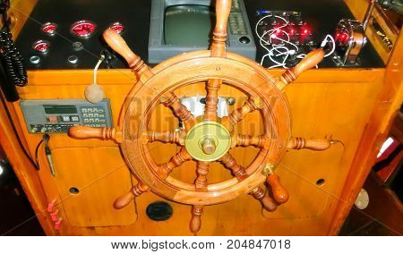 Motorboat. Boating. The interior of fast motor boat