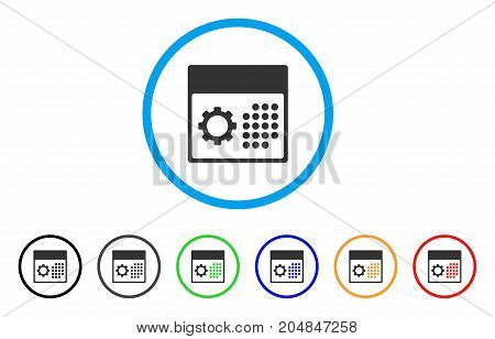 Service Calendar rounded icon. Style is a flat service calendar gray symbol inside light blue circle with black, gray, green, blue, red, orange color versions.