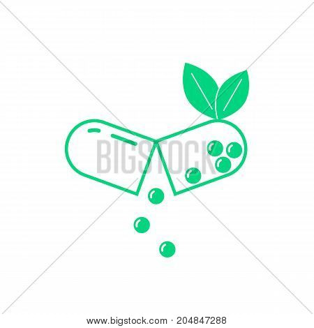 green opened pill with leaf. concept of abstract shoots, hospital pharma, first help, ill, science, dietary, medicinal. flat style trend modern logotype brand design vector illustration on white background
