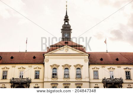 The municipality house of Brno city southern Moravia Czech republic. Architectural scene. Yellow photo filter.