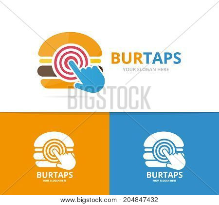 Vector burger and click logo combination. Hamburger and cursor symbol or icon. Unique snack, fastfood and digital logotype design template.