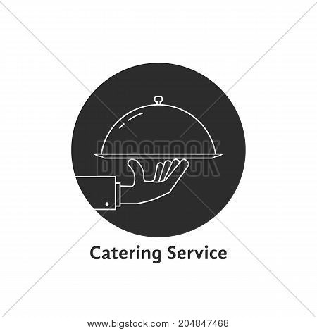 black round catering service logo. concept of wedding presentation, banquet, tasty, yummy, hot cloche, event sale. flat style trend modern brand graphic design vector illustration on white background