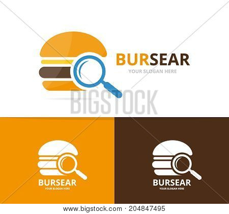 Vector burger and loupe logo combination. Hamburger and magnifying symbol or icon. Unique snack, fastfood and search logotype design template.