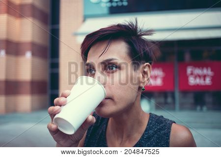 Portrait Of Woman With Coffee.